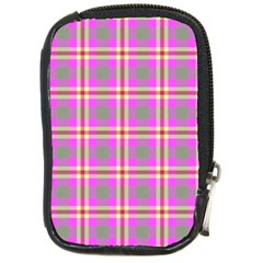Tartan Fabric Colour Pink Compact Camera Cases