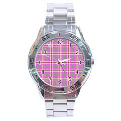 Tartan Fabric Colour Pink Stainless Steel Analogue Watch
