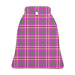 Tartan Fabric Colour Pink Bell Ornament (Two Sides)