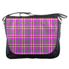 Tartan Fabric Colour Pink Messenger Bags