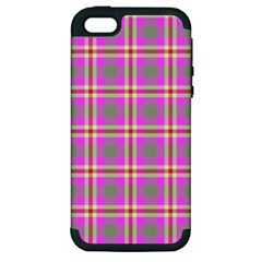 Tartan Fabric Colour Pink Apple iPhone 5 Hardshell Case (PC+Silicone)