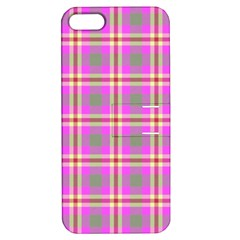 Tartan Fabric Colour Pink Apple iPhone 5 Hardshell Case with Stand