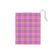 Tartan Fabric Colour Pink Drawstring Pouches (Small)