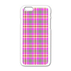 Tartan Fabric Colour Pink Apple iPhone 6/6S White Enamel Case