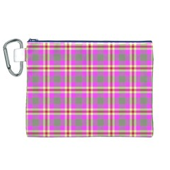 Tartan Fabric Colour Pink Canvas Cosmetic Bag (XL)