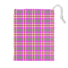 Tartan Fabric Colour Pink Drawstring Pouches (Extra Large)