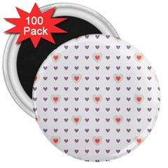 Heart Love Valentine Purple Pink 3  Magnets (100 pack)