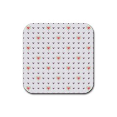 Heart Love Valentine Purple Pink Rubber Square Coaster (4 pack)