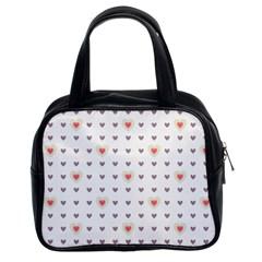 Heart Love Valentine Purple Pink Classic Handbags (2 Sides)