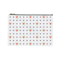 Heart Love Valentine Purple Pink Cosmetic Bag (Large)