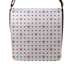 Heart Love Valentine Purple Pink Flap Messenger Bag (L)