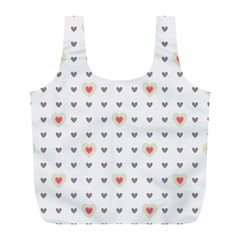 Heart Love Valentine Purple Pink Full Print Recycle Bags (L)