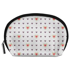 Heart Love Valentine Purple Pink Accessory Pouches (Large)