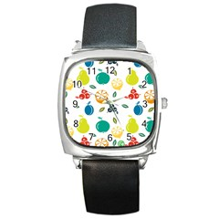 Fruit Lime Square Metal Watch