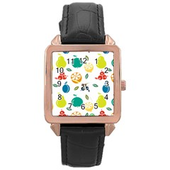 Fruit Lime Rose Gold Leather Watch