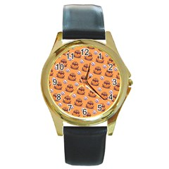 Helloween Moon Mad King Thorn Pattern Round Gold Metal Watch