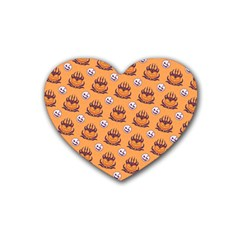 Helloween Moon Mad King Thorn Pattern Rubber Coaster (Heart)
