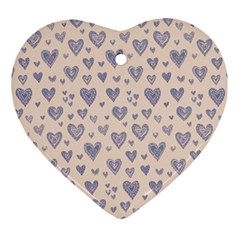 Heart Love Valentine Pink Blue Ornament (heart)