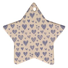 Heart Love Valentine Pink Blue Ornament (Star)