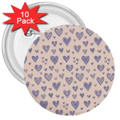 Heart Love Valentine Pink Blue 3  Buttons (10 pack)