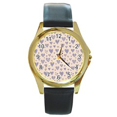 Heart Love Valentine Pink Blue Round Gold Metal Watch