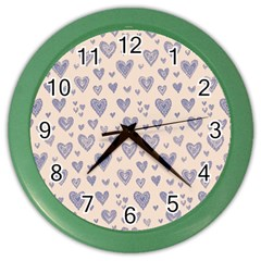 Heart Love Valentine Pink Blue Color Wall Clocks