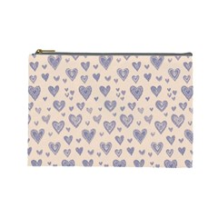 Heart Love Valentine Pink Blue Cosmetic Bag (Large)