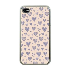 Heart Love Valentine Pink Blue Apple iPhone 4 Case (Clear)