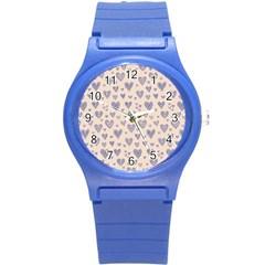 Heart Love Valentine Pink Blue Round Plastic Sport Watch (S)