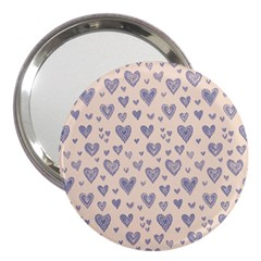 Heart Love Valentine Pink Blue 3  Handbag Mirrors