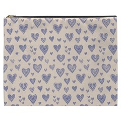 Heart Love Valentine Pink Blue Cosmetic Bag (XXXL)