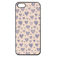Heart Love Valentine Pink Blue Apple iPhone 5 Seamless Case (Black)