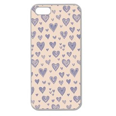Heart Love Valentine Pink Blue Apple Seamless iPhone 5 Case (Clear)