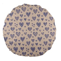 Heart Love Valentine Pink Blue Large 18  Premium Round Cushions