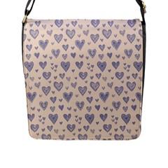Heart Love Valentine Pink Blue Flap Messenger Bag (L)