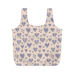 Heart Love Valentine Pink Blue Full Print Recycle Bags (M)