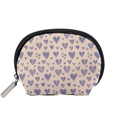 Heart Love Valentine Pink Blue Accessory Pouches (small)