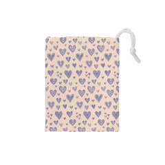 Heart Love Valentine Pink Blue Drawstring Pouches (Small)