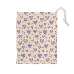 Heart Love Valentine Pink Blue Drawstring Pouches (Large)
