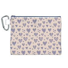 Heart Love Valentine Pink Blue Canvas Cosmetic Bag (XL)