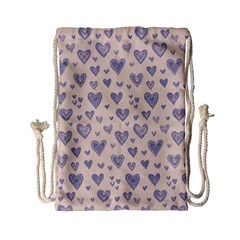 Heart Love Valentine Pink Blue Drawstring Bag (Small)
