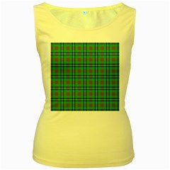 Tartan Fabric Colour Green Women s Yellow Tank Top