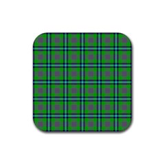 Tartan Fabric Colour Green Rubber Coaster (Square)