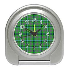 Tartan Fabric Colour Green Travel Alarm Clocks