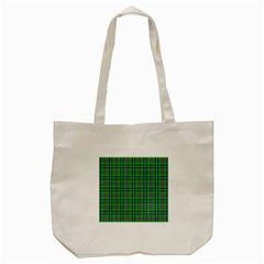 Tartan Fabric Colour Green Tote Bag (Cream)