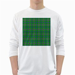 Tartan Fabric Colour Green White Long Sleeve T-Shirts