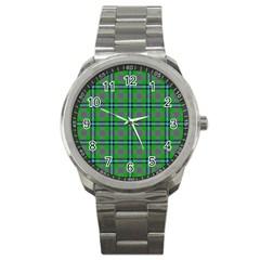 Tartan Fabric Colour Green Sport Metal Watch