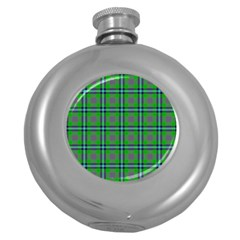Tartan Fabric Colour Green Round Hip Flask (5 oz)