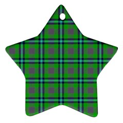 Tartan Fabric Colour Green Star Ornament (Two Sides)