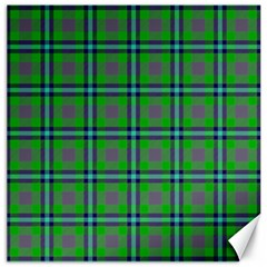 Tartan Fabric Colour Green Canvas 12  x 12